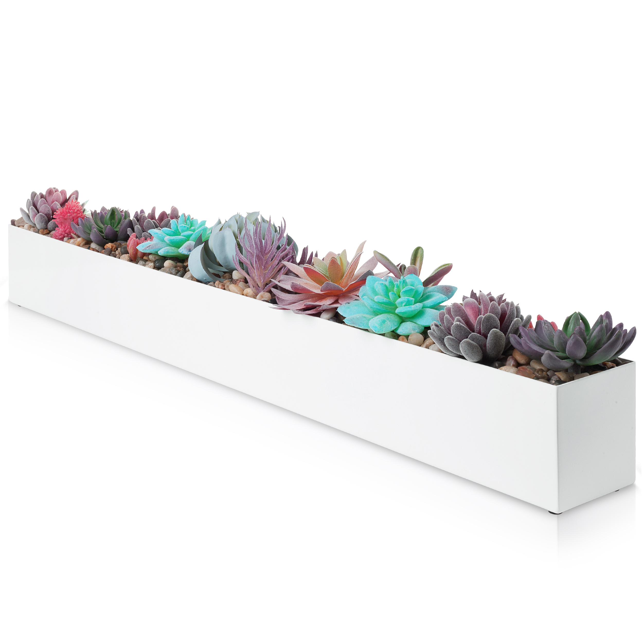 Picture of: White Stainless Steel Rectangular Planter 32 Dr Co