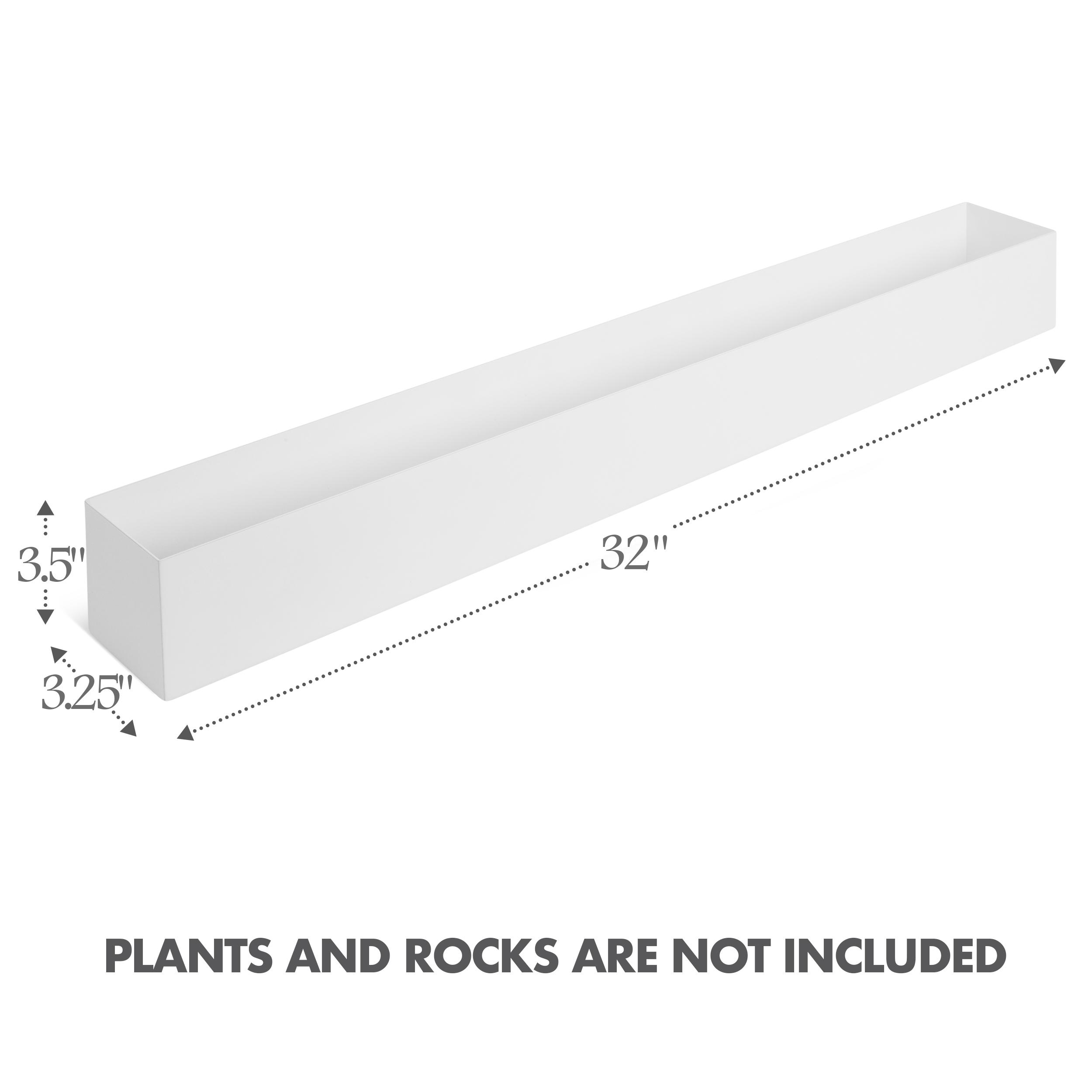 White Stainless Steel Rectangular Planter 32 Dr Co